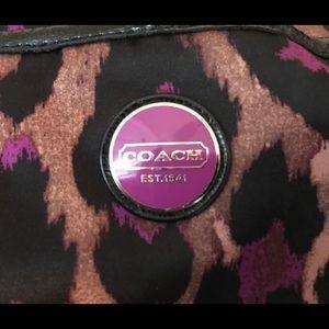 Coach animal print black and purple purse